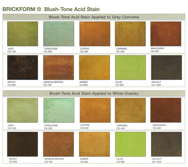 Brickform Acid Stain Color Chart
